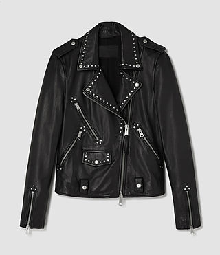 Femmes Vettese Studded Leather Biker Jacket (Black) - product_image_alt_text_5