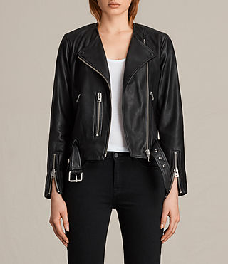 Women's Collarless Balfern Leather Biker Jacket (Black)
