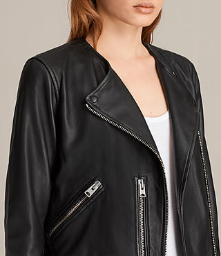 Womens Collarless Balfern Leather Biker Jacket (Black) - product_image_alt_text_2