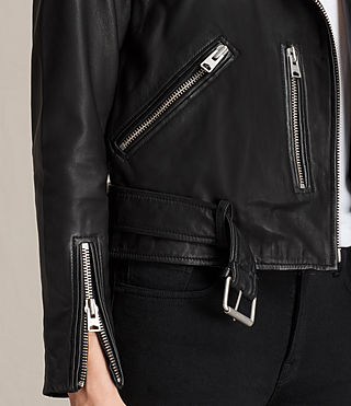 Womens Collarless Balfern Leather Biker Jacket (Black) - product_image_alt_text_4