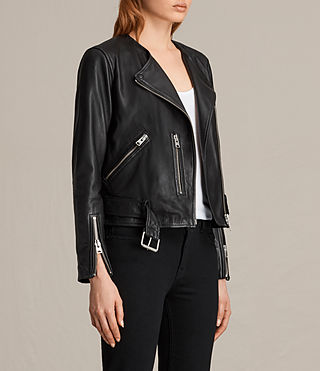 Womens Collarless Balfern Leather Biker Jacket (Black) - product_image_alt_text_5