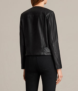 Womens Collarless Balfern Leather Biker Jacket (Black) - product_image_alt_text_7