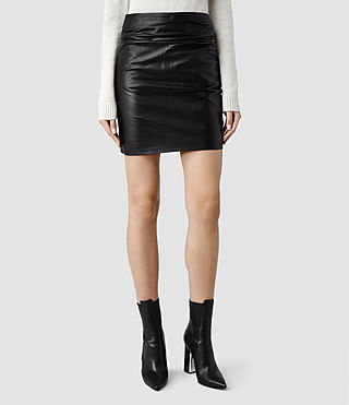 Womens Raye Leather Skirt (Black)
