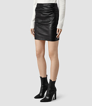 Womens Raye Leather Skirt (Black) - product_image_alt_text_2