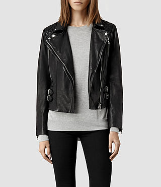 Womens Hawks Leather Biker Jacket (Black)