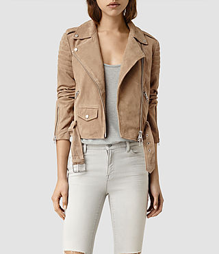 Womens Hitchen Suede Biker Jacket (SAND BROWN) - product_image_alt_text_1