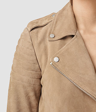 Women's Hitchen Suede Biker Jacket (SAND BROWN) - product_image_alt_text_2