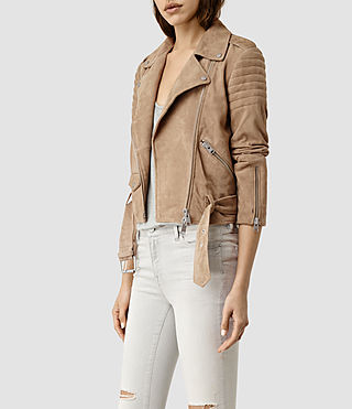 Womens Hitchen Suede Biker Jacket (SAND BROWN) - product_image_alt_text_3