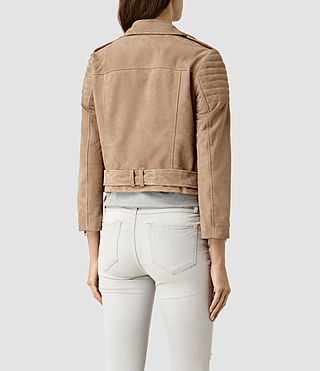 Women's Hitchen Suede Biker Jacket (SAND BROWN) - product_image_alt_text_4