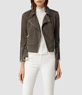 Womens Hitchen Suede Biker Jacket (Graphite) - product_image_alt_text_1