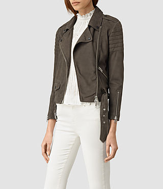 Womens Hitchen Suede Biker Jacket (Graphite) - product_image_alt_text_3