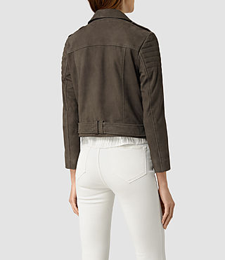 Womens Hitchen Suede Biker Jacket (Graphite) - product_image_alt_text_4