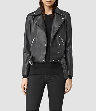 Womens Sidney Leather Biker Jacket (Black)