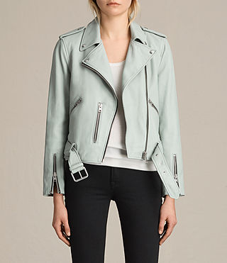 Womens Balfern Leather Biker Jacket (LUNA BLUE)