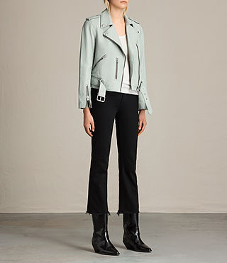 Women's Balfern Leather Biker Jacket (LUNA BLUE) - product_image_alt_text_3