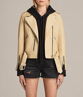 Mujer Balfern Leather Biker Jacket (LEMON YELLOW) -