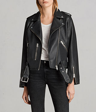 Women's Vintage Leather Balfern Jacket (Black) - product_image_alt_text_1
