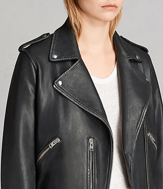 Women's Vintage Leather Balfern Jacket (Black) - product_image_alt_text_2