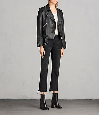 Women's Vintage Leather Balfern Jacket (Black) - product_image_alt_text_3
