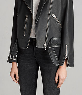 Women's Vintage Leather Balfern Jacket (Black) - product_image_alt_text_4