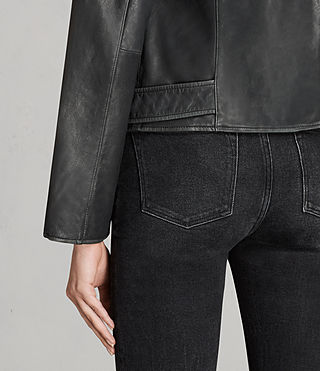 Women's Vintage Leather Balfern Jacket (Black) - product_image_alt_text_6