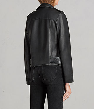 Women's Vintage Leather Balfern Jacket (Black) - product_image_alt_text_8