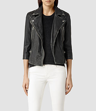 Womens Cropped Cargo Leather Biker Jacket (Blk/Grey)