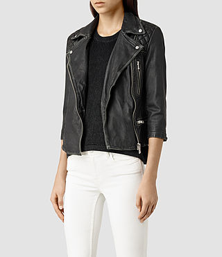 Womens Cropped Cargo Leather Biker Jacket (Blk/Grey) - product_image_alt_text_2