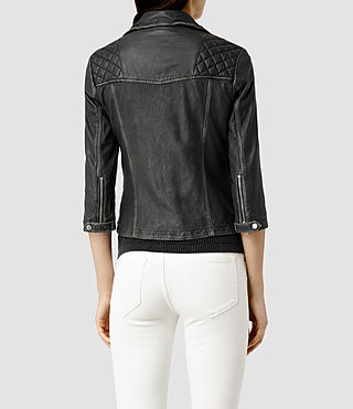 Womens Cropped Cargo Leather Biker Jacket (Blk/Grey) - product_image_alt_text_3