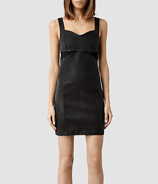Womens Turi Leather Dress (Black)