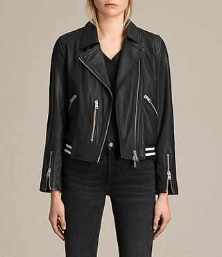 Womens Balfern Leather Bomber Jacket (Black)