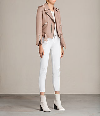 Womens 발펀 바이커 재킷 (BLUSH PINK) - product_image_alt_text_4