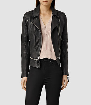 Womens Assembly Leather Biker Jacket (Black) - product_image_alt_text_1