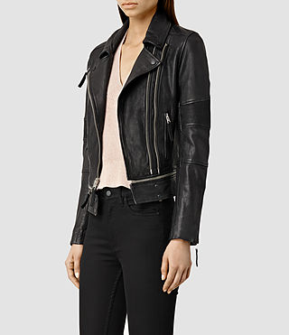 Womens Assembly Leather Biker Jacket (Black) - product_image_alt_text_2