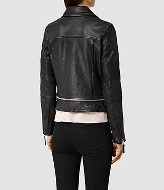 Womens Assembly Leather Biker Jacket (Black) - product_image_alt_text_3