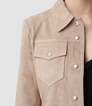 Women's Lavelles Suede Jacket (BARK BROWN) - product_image_alt_text_2