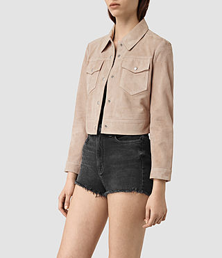 Women's Lavelles Suede Jacket (BARK BROWN) - product_image_alt_text_3