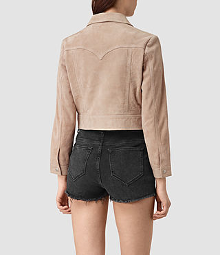 Women's Lavelles Suede Jacket (BARK BROWN) - product_image_alt_text_4