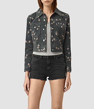 Womens Fraise Suede Jacket (Washed Black)