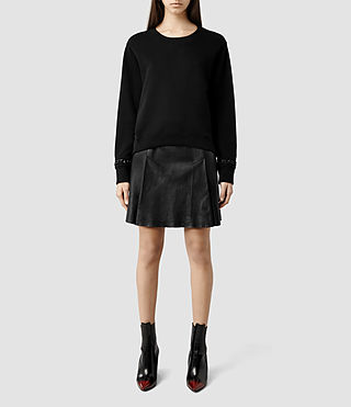 Womens Ansel Leather Skirt (Black)
