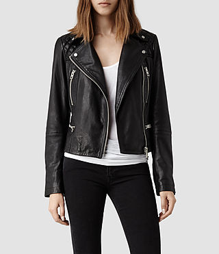 Womens Bleeker Leather Biker Jacket (Washed Black)
