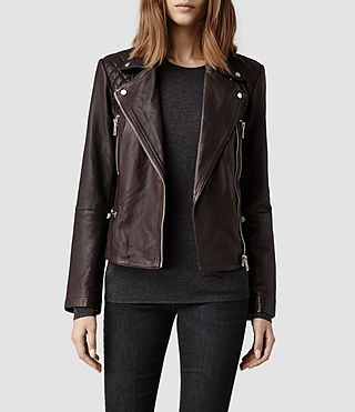 Womens Bleeker Leather Biker Jacket (Deep Burgundy)