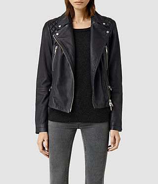 Womens Bleeker Leather Biker Jacket (Ink Blue)