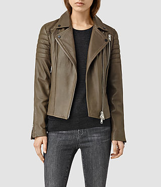 Womens Obika Leather Biker Jacket (Dark Khaki Green)