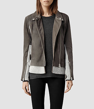 Womens Axel Suede Biker Jacket (Grey/Mist)