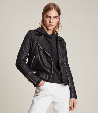 Femmes Conroy Leather Biker Jacket (Ink)