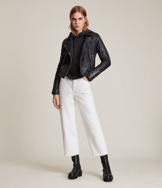 Womens Conroy Leather Biker Jacket (Ink) - Image 3