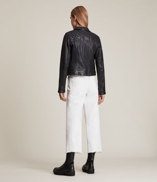 Womens Conroy Leather Biker Jacket (Ink) - Image 8