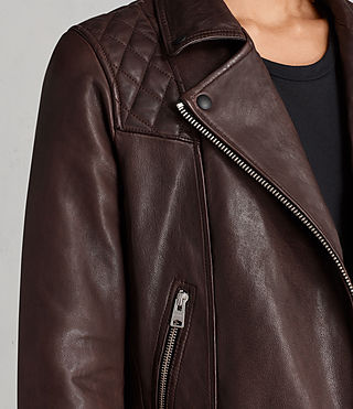 Womens Conroy Leather Biker Jacket (OXBLOOD RED) - Image 2