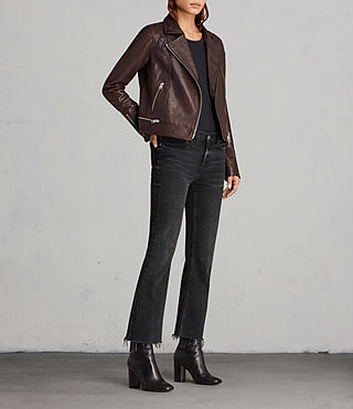 Womens Conroy Leather Biker Jacket (OXBLOOD RED) - Image 3